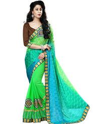 Nanda Silk Mills Green Georgette Embroidered Saree With Blouse Piece_Gitanjli-4402