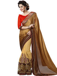 Nanda Silk Mills Brown Georgette Embroidered Saree with Blouse_Adiction-4603
