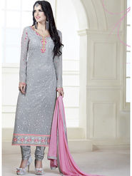 Viva N Diva Embroidered Faux Georgette Semi Stitched Salwar Suit -11110-Kalika