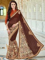 Indian Women Printed Georgette Maroon Designer Saree -Ic11307