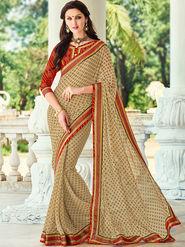Indian Women Printed Georgette Beige Designer Saree -Ic11318