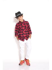 ShopperTree 100% COTTON Plain Boys Shirt - Red Above 4 Year