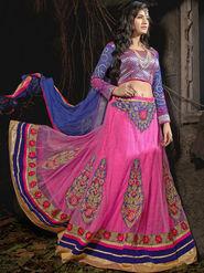 Viva N Diva Soft Net Embroidered Lehenga - Pink_Noor-1006