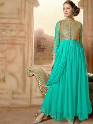 Viva N Diva Net  Embroidered Salwar Suit - Sky Blue_Vedant-1008