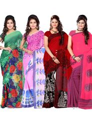Combo of 4 Adah Fashions Georgette Printed Saree -ad02