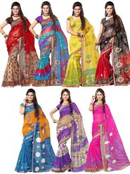 Combo of 7 Adah Fashions Supernet Printed Saree -ad12