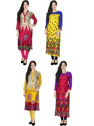 Pack of  4 Arisha Rayon Printed Long Straight Kurtas -Cm1