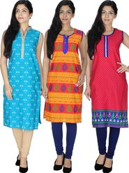 Pack of  3 Arisha Cotton Printed Kurti -Cm2
