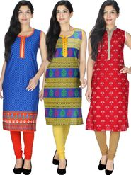Pack of  3 Arisha Cotton Printed Kurti -Cm4