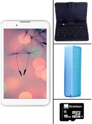 Comb of I Kall IK1 3G Calling Tablet( RAM : 1GB ROM : 4GB) With ( Keyboard, 2600 mAh Powerbank,16GB Card)