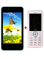 Combo Combo of Trio KitKat 3G SmartPhone (Blue) + Trio Superphone cum Powerbank ( White)