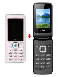 Combo of Trio Superphone cum Powerbank( White) + Trio Flip Phone (Black)