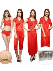 Pack of 8 Clovia Red Satin Nightwear Set With Free Facial Kit & Bra Strap