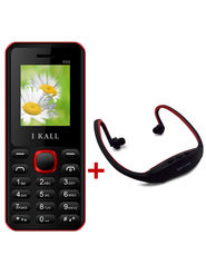 Combo of I Kall K66 1.8 Inch Dual Sim Mobile (Black) + Neckband for Music
