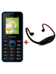Combo of I Kall K66 1.8 Inch Dual Sim Mobile (Blue) + Neckband for Music