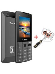 Ziox Zelfie Dual SIM Dual Flash Camera Feature Phone (Gray) With Foldable Pocket Friendly Selfie Stick (Color Assorted)