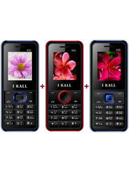 Combo of I KALL K20 (Black & Blue) + I KALL K24 with Leather Back (Black & Red) + I KALL K25 with Leather Back (Black & Blue) Feature Phone