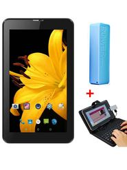 Combo of I Kall N2 3G Calling Tablet (Black) + 2600 mAh Powerbank + 7 Inch Universal Keyboard