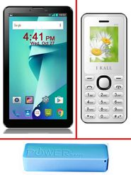 Combo of I Kall N6 8 GB 3G Calling Tablet (White) + I Kall K66 Feature Phone Mobile ( White) + 2600 mAh Powerbank