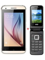Combo of TYMES Y4DT Dual SIM Smartphone (Golden) + T8 Flip Phone (Black)