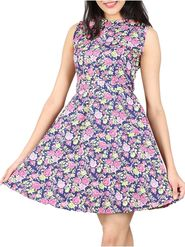 Lavennder Printed Crepe Multicolor Dresses -Ld9020