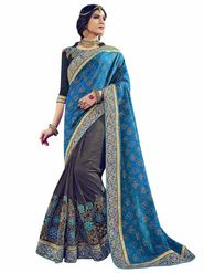 Indian Women Emboridered Jacquard & Lycra Blue & Grey Designer Saree_Ht51202