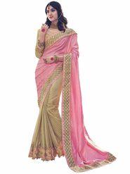 Indian Women Emboridered Jacquard  Pink & Golden Designer Saree_Ht51206