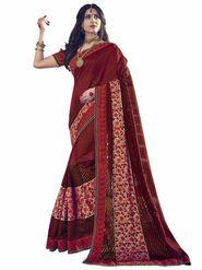 Indian Women Emboridered Jacquard Maroon Designer Saree_Ht51209