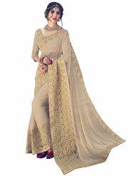 Indian Women Emboridered Knitting Fabrics Beige Designer Saree_Ht51214