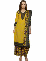 Florence Yellow Polycotton Printed  Dress Material _Sb3302