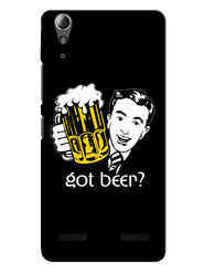 Snooky Designer Print Hard Back Case Cover For Lenovo A6000 - Black