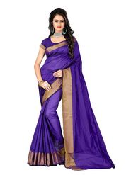 Bhuwal Fashion Plain Polycotton Purple Designer Saree -bhl07