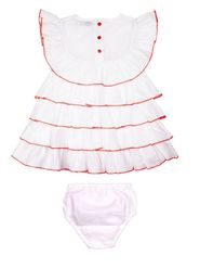 ShopperTree Solid White Cotton Frock -ST-1631_6-12M