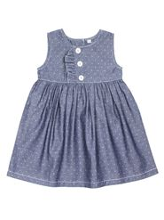 ShopperTree Solid Blue Cotton Frock -ST-1679_6-12M
