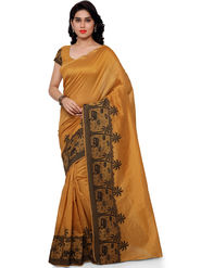 Viva N Diva Plain Banarasi Silk Mustard Saree -vs08