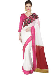 Designersareez Faux Georgette Embroidered Saree -1837