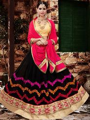 Viva N Diva Embroidered Georgette Black Lehnega Choli -19093-Gharana
