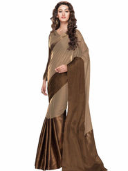 Viva N Diva Embellished Kota Silk Beige & Brown Saree -19163-Aangi