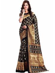 Viva N Diva Printed Bhagalpuri Black Saree -19176-Aangi
