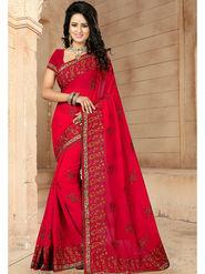 Viva N Diva Embroidered Georgette Red Saree -19265-Drishya