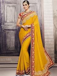 Viva N Diva Embroidered Satin Chiffon Yellow Saree -19429-Rukmini-03