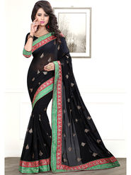 Viva N Diva Embroidered Chiffon Black Saree -19442-Akshita