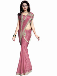Bhuwal Fashion Plain Lycra Pink Designer Saree -bhl04
