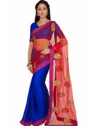 Designersareez Embroidered Satin & Net Saree -2026