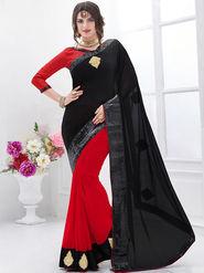 Indian Women Embroidered Satin Chiffon Black & Red Designer Saree -GA20318