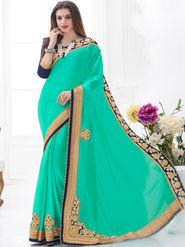 Indian Women Embroidered Chinon Cyan Designer Saree -GA20319