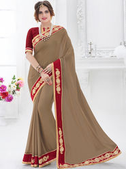 Indian Women Embroidered Satin Chiffon Dark Beige Designer Saree -GA20330