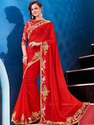 Indian Women Embroidered Georgette Red Designer Saree -GA20347