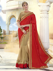 Indian Women Plain Georgette Red and Beige Designer Saree -RA21061