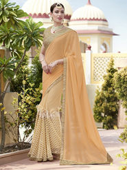 Indian Women Plain Georgette Peach Designer Saree -RA21063